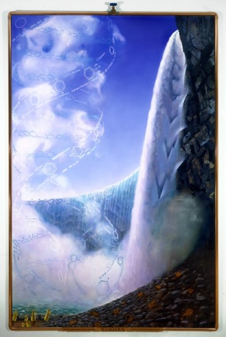 Niagara, 1994 oil on canvas with copper frame and attachments, 99x67